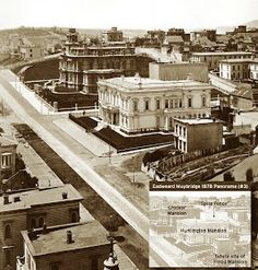 1878 view of Nob Hill, San Francisco, with the Crocker mansion in the background and the white Colton/Huntington House in front of it. Huntington Park is now located where the white Colton/Huntington used to stand. Huntington Homes, Huntington Park, San Francisco City, San Francisco California, Old Pictures, Old Photos, Vintage Photos, San Francisco Earthquake, Eadweard Muybridge