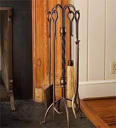 $150 - hand-forged-iron-stand-with-four-matching-fireplace-tools