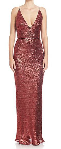 ABS Sequined spaghetti strap gown