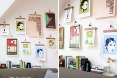 Genius! Use wooden pant hangers to display your art.