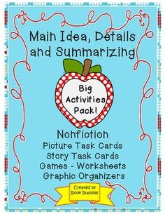 Main Idea Nonfiction Activities and Games Teaching Main Idea, Teaching Second Grade, Teaching Ideas, Summarizing Activities, Spelling Activities, Reading Strategies, Reading Comprehension, Literacy Centres, Readers Workshop