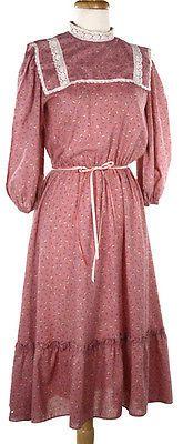 Prairie-Style-Vintage-Dress-High-Neck-Lace-Trim-Josef-Otten-Sz-M-Hey-Viv