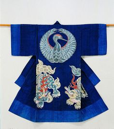 """Œuvre exposée lors de l'exposition """"Tsutsugaki, textiles indigo du Japon du musée Guimet"""""""