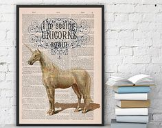 Fabulous Unicorn Printed on Vintage Book sheet - Wall art print funny poster Unicorn wall hanging gift for Her surreal geek unicorn BPAN212