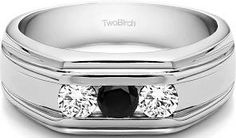 14k White Gold Unique Men's Wedding or Fashion Ring With Black And White Diamonds(0.48 Cts., Black, I1-I2) (14k White Gold, Size 4.5) (Solid)