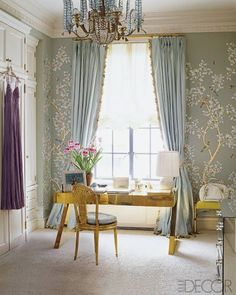 """Aerin Lauder's dressing room in her Manhattan apartment. Gracie wall covering, chandelier by Bagues, desk by Gabriella Crespi. Photography by Simon Upton. """"At Home With Stylesetter Aerin Lauder"""" Elle Decor (July - August Celebrity Closets, Celebrity Houses, Celebrity Style, Elle Decor, Gracie Wallpaper, Painted Wallpaper, Wallpaper Panels, Bedroom Wallpaper, Gold Wallpaper Living Room"""