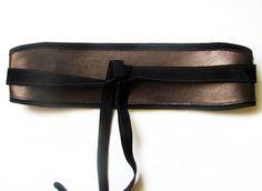 Brown leather Obi belt, Brown wide waist belt. $48.00, via Etsy.