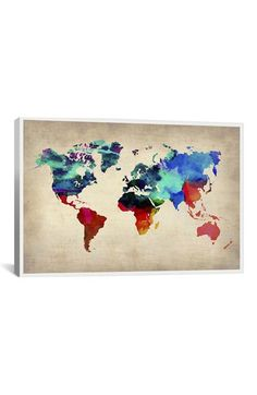 iCanvas 'World Watercolor Map - Michael Thompsett' Giclée Print Canvas Art available at #Nordstrom