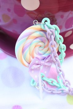 Pastel Rainbow Split Colored Chain Lollipop by kittywooddesigns