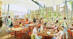 dining hall caferetia rendering. Architectural illustration of Cornell University cafeteria and courtyard
