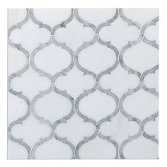 White Thassos & Carrara Marble Arabesque Marrakech Waterjet Mosaic