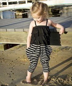 Look what I found on #zulily! Black & White Stripe Rumba Romper - Toddler & Girls #zulilyfinds