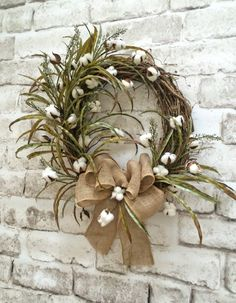 Cotton Wreath Cotton Boll Wreath Front Door by AdorabellaWreaths