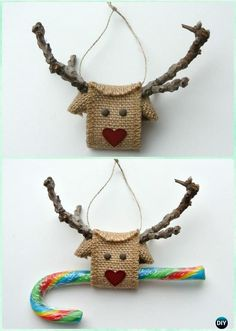 DIY Tree Branch Burlap Ornament Instruction-DIY Christmas Ornament Craft Ideas For Kids