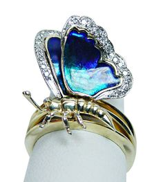 Sonia B Bitton Diamond  Blue Enamel Butterfly Ring 14K Gold HEAVY Estate Jewelry #SoniaBBitton #Cluster