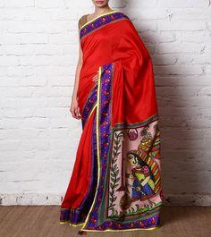 Red Hand Painted Chanderi Silk Saree