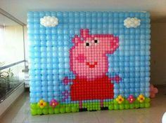 Pepa pig #balloon #decoration Clown Party, Pig Party, Baloon Wall, Peppa Pig Balloons, Second Birthday Ideas, Balloon Decorations Party, Balloon Backdrop, Pig Birthday, Moana