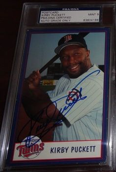 KIRBY PUCKETT Signed Auto 4x6 Team Issued Postcard Photo PSA 9 MINT DECEASED 06