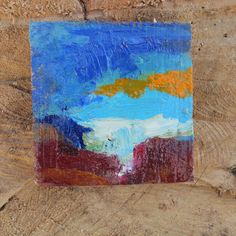miniature painting of an abstract landscape, oil on wood, original artwork de MariaMazaPaintings en Etsy