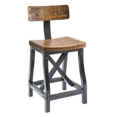 Lancaster counter stool recalls another era, with bases inspired by cast iron machinery and heavy timber flooring found in turn of the century factories. Solid acacia create a substantial wood frame, as graphite metal finished wood and rivet details become finishing touches for a modern industrial update. Counter stool can be used with or without the back. Assembly required.
