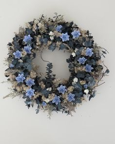 Cold Porcelain Blue  Floral Wreath by doughroses on Etsy, $65.00