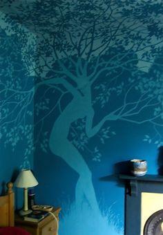 Dancing tree dryads mural painted by UK artist Virginia Lee.