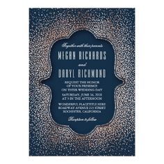 Vintage Rose Gold Glitter Confetti Navy Wedding Card