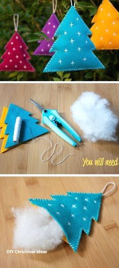 Felt Christmas Decorations 20 Easy DIY Christmas Crafts To Try This Christmas DIY Weihnachten 20 Easy DIY Christmas Crafts To Try This Christmas Felt Christmas Decorations, Felt Christmas Ornaments, Noel Christmas, Cheap Christmas, Diy Ornaments, Christmas Movies, Diy Tree Decorations, Christmas Music, Tablecloth Decorations