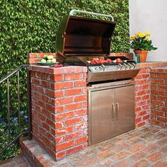 Built-in grill with brick surround! | Photo: Mark Lohman | thisoldhouse.com