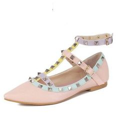 Women's Pointed Toe Buckle Sandals Metal Rivet Studded Comfy Flats Thin Shoes