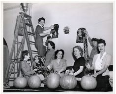 Elementary school being decorated for Halloween. (1940s)