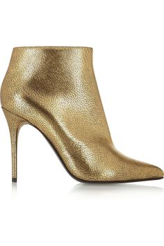 Alexander McQueen | Metallic cracked-leather ankle boots | NET-A-PORTER.COM