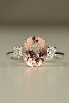 Morganite and diamond 18ct white gold ring