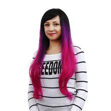 Women Cosplay Wig Girls Fashion Body Wave Long Hair Mixed Purple+Red+Black(China…