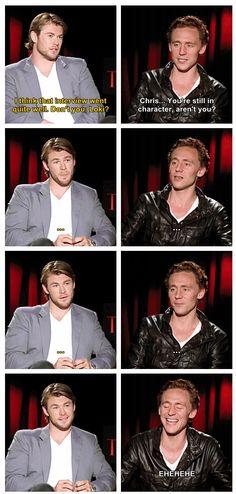 Tom Hiddleston & Chris Hemsworth...I think that interview went quite well. Don't you, Loki? http://pinterest.com/yankeelisa/marvel-s-the-avengers-4/