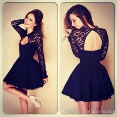 $94--Discount 2014 Cocktail Dresses Little Black Dresses Lace High Neck Long Sleeves Hollow Back Short Mini Sexy Prom Dresses