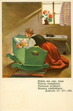 Martta Wendelin was a Finnish artist whose work was widely used to illustrate fairy tales and books, postcards, school books, magazine and book covers. Vintage Books, Vintage Cards, Vintage Postcards, Vintage Images, Retro Housewife, School Posters, Retro Advertising, Little Golden Books, Children's Book Illustration