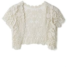 Chicwish Vintage Daisy Crochet Crop Cardigan in Cream (£18) ❤ liked on Polyvore featuring tops, cardigans, beige, crochet crop top, beige cardigan, white crochet cardigan, cream crop top and white top