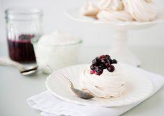 Raw Sugar Mini Pavlovas with Maple Soaked Berries