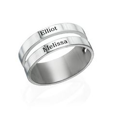 Two Name Ring in Silver