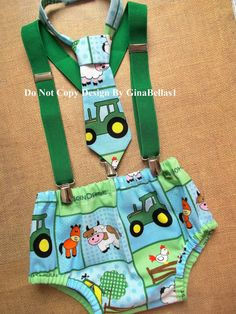 John Deere Birthday cake smash outfit tractor by GinaBellas1