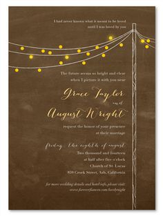 Like chalkboard, but you're not into black? Brown Chalkboard Wedding Invitations - Lovely Night!
