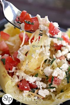 Greek Spaghetti Squash---    spaghetti squash is microwaved (or oven baked) tender then tossed with butter, diced tomato, crumbled feta cheese, fresh oregano, lemon juice, and salt and pepper.