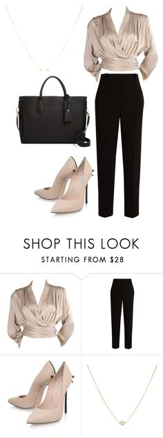 """""""dressy romantic work look"""" by explorer-14920051874 on Polyvore featuring Yves Saint Laurent, The Row, Casadei and Longchamp"""