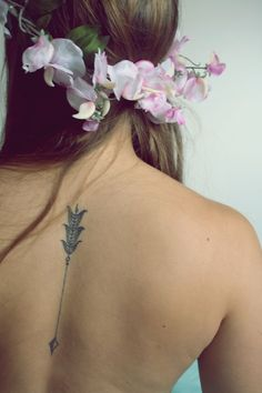 arrow tattoo + floral crown OMG love this tattoo!! I think it might be my second tattoo as long as I am sagittarius. This is the best arrow tattoo I've seen so far.^-^ I'd choose different placement.