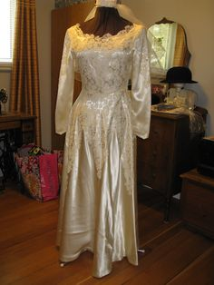 Vintage satin and Lace wedding gown.