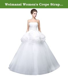Weimansi Women's Crepe Strapless with Ruffles Long Dress lvory Size US 22. Long Dress with Ruffles.