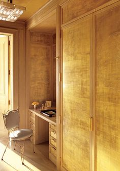 "Michael S. Smith. Gold-leaf walls by Nancy Lorenz in the wife's dressing room- Architectural Digest March 2011, ""Rare and Refined"""