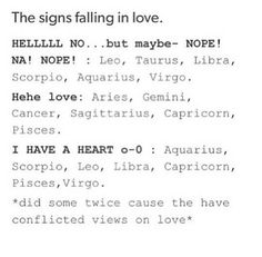 Signs falling in love