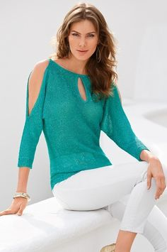 Boston Proper Reversible sequin keyhole sweater #bostonproper